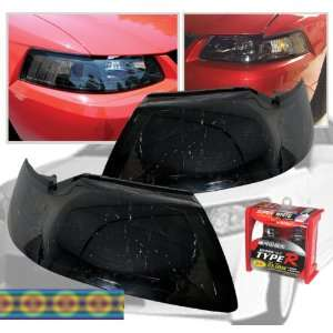 Ford Mustang 99 04 Smoked Headlights + 9007 Xenon Bulbs