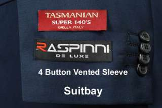 RASPINNI NAVY SUPER 140 Gabardine Wool Mens Suit 40 Regular   D51
