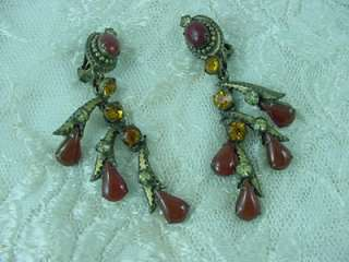 OMG ANTIQUE Art Deco Estate Carved Carnelian Chandelier Earrings To