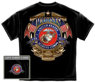Official Marine Corps Logo T Shirt golden army veteran usa flag USMC
