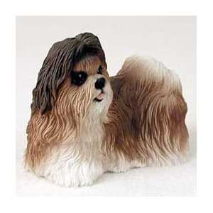 Shih Tzu Dog Figurine   Brown & White