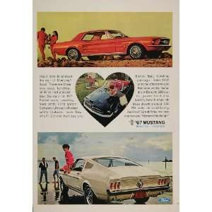 1967 Ad Red Ford Mustang Fastback Hardtop Convertible   Original Print