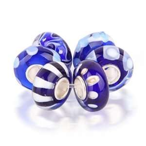 Bling Jewelry Assorted Dark Blue Murano Glass Bead Bundle