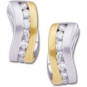 14kt Two Tone Gold Hinged Earrings with Diamonds/14kt two
