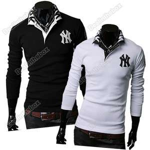 Mens Stylish Polo shirts Slim Fit long Sleeve Casual T Shirt Tops Fall