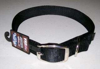 Premium Nylon Dog Collar ~ Double Ply 1 Wide ~ BLACK ~ Made in U.S.A