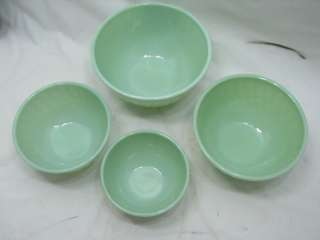 VINTAGE FIRE KING JADITE GLASS SWIRL NESTING MIXING BOWLS JADEITE 4