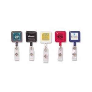 831210    Retractable Square Solid Badge Holder Office