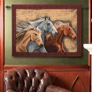 Three Horses Tapestry and Rod