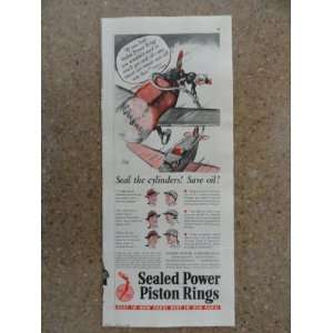 Sealed Power Piston Rings, Vintage 40s Illustration print