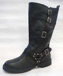 Black Distressed Motorcycle Riding Outlaw Harley Gang Costume Boots 14