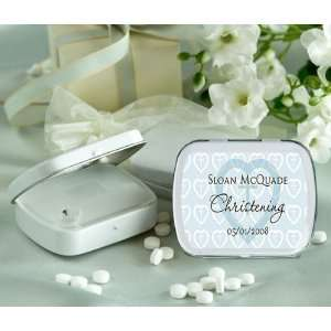 Blue Heart Cross Theme Personalized Glossy White Hinged Mint Box (Set