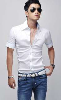 2012 Mens Slim Fit Stylish Dress Short Sleeve Shirts 3size 3color