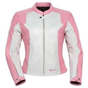 Cortech LNX Womens Leather Motorcycle Jacket Pink/White Medium Plus