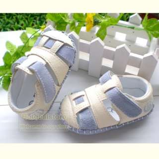 Boys Girls Blue & White Leather Shoes Sandals 3 18 month WN010B
