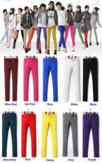 Fashion Women Sexy Candy Colors Pencil Pants Slim Fit Stretch Jeans