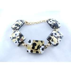 Black Gold Flower Murano Glass Venetian Bracelet Jewelry Jewelry