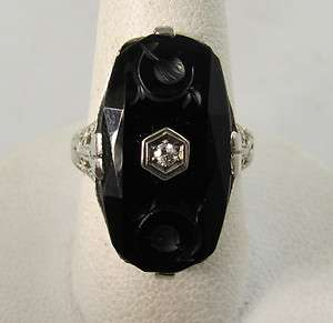ART DECO CARVED ONYX DIAMOND FILIGREE RING 14K WHITE GOLD VINTAGE
