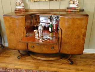 Antique Art Deco BAR Liquor Cabinet~Cocktail~Pop Open~Burl Walnu