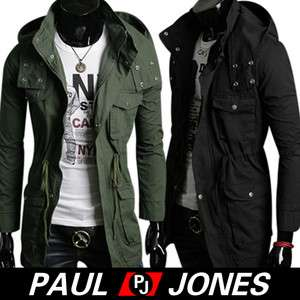 PJ Mens Korea Slim Fit Jackets Warm Coats Hoody Smart