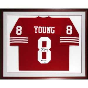 Steve Young San Francisco 49ers Framed Autographed Red Jersey with HOF