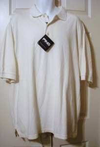 White MENS PING POLO GOLF Shirt sz L NEW WITH TAGS $48 value