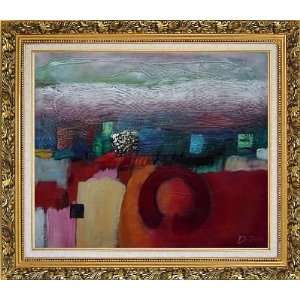 Colorful Modern Oil painting, with Ornate Antique Dark Gold Wood Frame