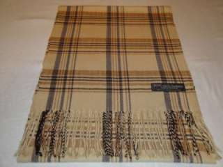 New 100% Cashmere Scarf Beige Camel Warm Scotland Wool Check Plaid