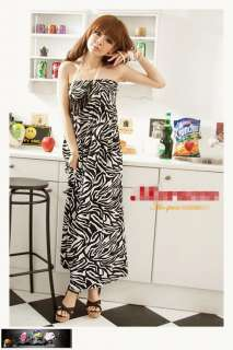 Sexy Zebra Stripe Strapless Womens Lady Long Summer Dress Off Shoulder