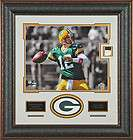 Aaron Rodgers GAME WORN Jersey Swatch Framed Display   Green Bay