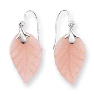 14k Gold White Gold Rose Quartz Leaf Wire Earrings