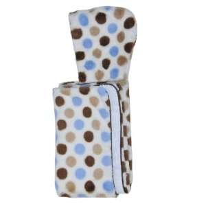 Blue & Brown Dots Minky Hooded Towel