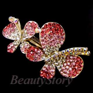ADDL Item  rhinestone crystal butterfly hair barrette