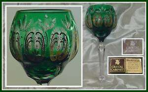 EMERALD GREEN & GOLD Wine Goblet CUT TO CLEAR CRYSTAL