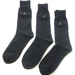 Mens Ralph Lauren Dress Socks, Black with Logo, 3 Pair