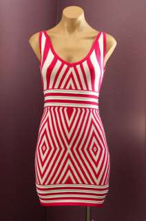 WOW COUTURE PINK WHITE Stripe Scoop Neck Party Cocktail Dress