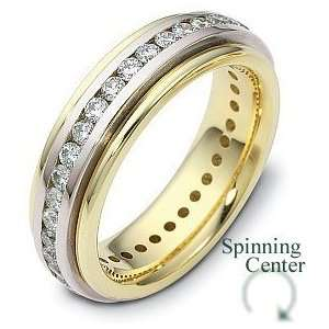 Karat Two Tone Gold SPINNING Diamond Anniversary Ring   6.25 Jewelry