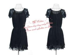 yrfashion Korean Fashion Women Chic Pleated Chiffon Lace Sleeves Dress