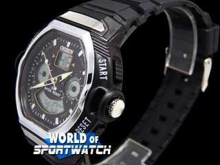 Black Analog Digital Chronograph Sport Watch Men OHSEN