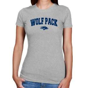 NCAA Nevada Wolf Pack Ladies Ash Logo Arch Slim Fit T
