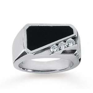 14k White Gold Modern Class 0.30 Carat Mens Diamond Ring Jewelry