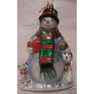 Kurt Adler Polonaise Ornament Snowman SnowPets Dog Cat