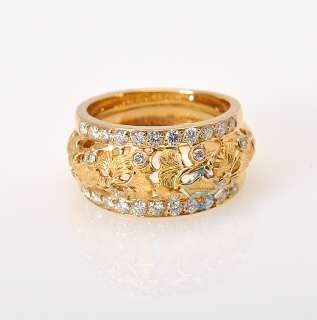Carrera y Carrera Yellow Gold Diamond Gingko Leaf Ring
