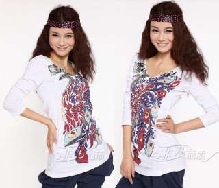 Neck Casual Cotton Long Sleeves Shirt Phoenix Printed