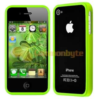 Bumper Green Shinny TPU Rubber Case Cover+PRIVACY Protector for iPhone
