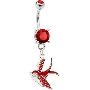 Ruby Red Gem Sparrow Belly Ring Jewelry