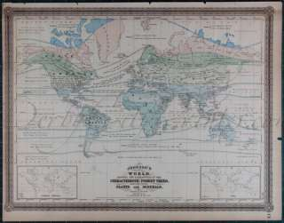 1886 Atlas LARGE Hand Colored Antique WORLD Map, double page