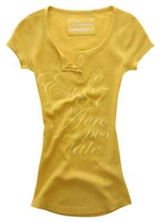 Womens AEROPOSTALE Yellow Waffle Thermal Henley Shirt
