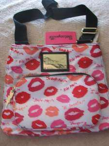 Betsey Johnson Cross Body Bag KISS & TELL Lips Pink White Purse