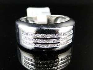14K MENS WHITE GOLD DIAMOND WEDDING BAND RING 0.50 CT